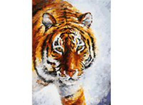 Набор для хобби и творчества Живопись на холсте. Размер 30*40 см.. Тигр на снегу (780-AS )