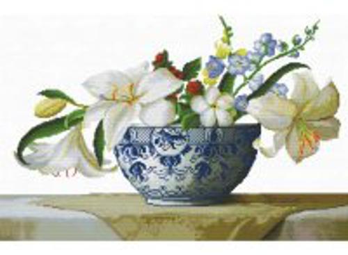 Наборы для вышивания с водорастворимым рисунком на канве. Цветочная композиция (7525-РК )