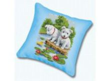 Наборы для вышивания. Подушка 192 Два щенка (канва бежевая)