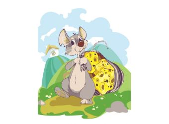 Живопись на холсте. Размер 30*40 см.. Мышка с сыром (721-AS )