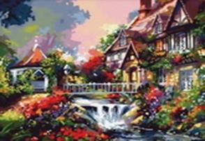 Живопись на холсте.Размер 40*50 см.. Дом с водопадом (009-CG )