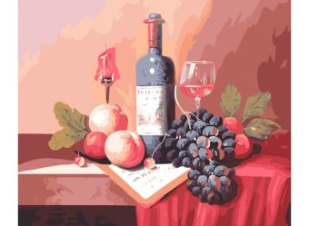 Живопись на холсте.Размер 40*50 см.. Натюрморт с вином (310-CG )