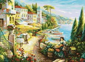Живопись на холсте.Размер 40*50 см.. Итальянский городок (528-CG )