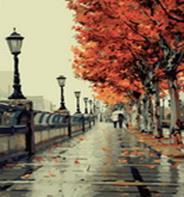 Живопись на холсте.Размер 40*50 см.. Осенний дождь (533-CG )