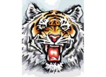 Живопись на холсте.Размер 40*50 см.. Свирепый тигр (555-CG )