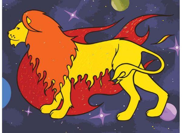 Живопись на холсте.Размер 40*50 см.. Лев (с флуоресцентной краской) (771-АВ )