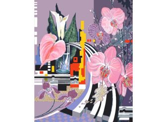 Живопись на холсте.Размер 40*50 см.. Композиция с орхидеями (927-AB )