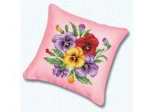 Наборы для вышивания. Подушка P-011 Фиалки (канва розовая)