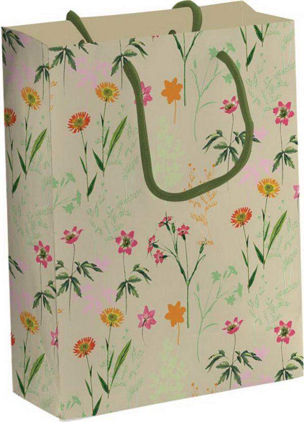 Пакет подарочный бумажный из крафт-бумаги 26х33х12,7