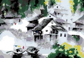 Живопись на цветном холсте 40*50 . Белый город (055-CG-C)