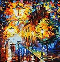 Живопись на цветном холсте 50*60 . Огни в ночи (1001-AL-C)