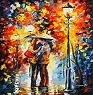 Живопись на цветном холсте 50*60 . Поцелуй под дождем (1002-AL-C)