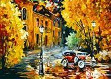 Живопись на цветном холсте 50*60 . Город (1005-AL-C)