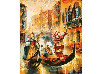 Живопись на цветном холсте 50*60 . Венецианская гондола (1006-AL-C)