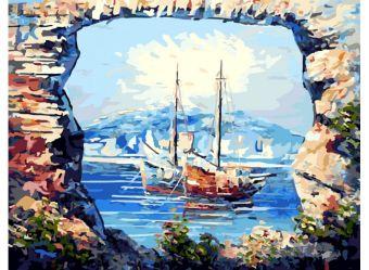 Живопись на цветном холсте 40*50 . В тихой бухте (298-CG-C)