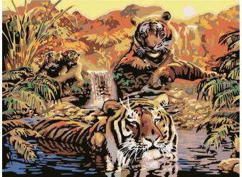 Набор для хобби и творчества Живопись на цветном холсте 40*50 . Семья тигров (352-CG-C)