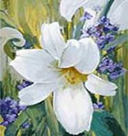 Живопись на цветном холсте 40*50 . Лилия (891-АВ-C)