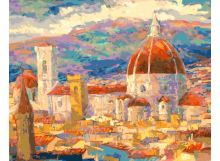 Живопись на цветном холсте 40*50 . Дождь над Флоренцией (896-АВ-C)