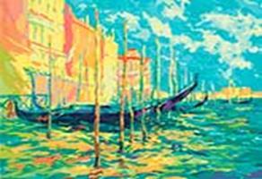 Живопись на цветном холсте 40*50 . Стоянка гондол. Венеция (897-АВ-C)