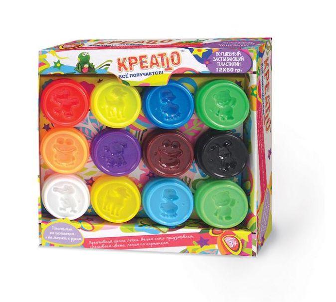 Пластилин,12 банок(50г),упаковка коробка