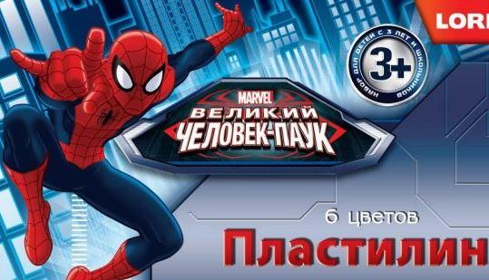 """Пластилин Marvel """"Человек-паук"""" 6 цветов, без европодвеса"""