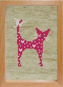 Наборы для вышивания с рамкой. Розовая кошечка (100-EF)