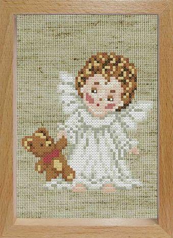 Наборы для вышивания с рамкой. Ангелочек с мишкой (107-EF)