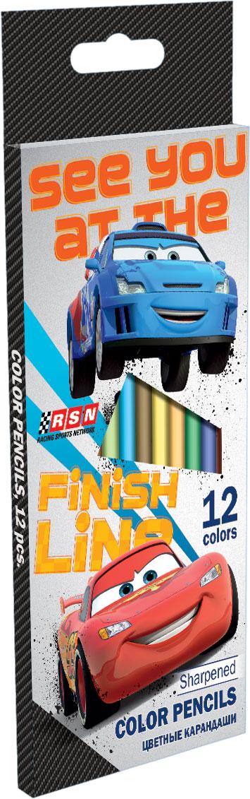 CRAB-US1-1P-12 Набор цветных карандашей, 12 шт. Цветные карандаши длиной 17,8 см; заточенные; дерево - липа; цветной грифель 2,65 мм; карандаш в цвет