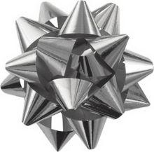 NY15-2STR2-6 Набор из 2-х металлизированых бантов-цветков (малых) для праздничной упаковки. Различные цвета.(синий, серебро), размер ? банта 5-6 cм,