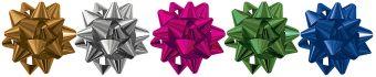 NY15-5STR1-12 Набор из 5-и металлизированых бантов-цветков (малых) для праздничной упаковки.  цвета.( Золото, амарант, серебро, синий, изумруд), разме