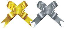 BW-18450GS-H2 Бант-бабочка, 2 штуки в PP пакете с подвесом, размер 18 х 450 мм, цвета золотой, серебряный, эффект - металлизированное покрытие   упак.
