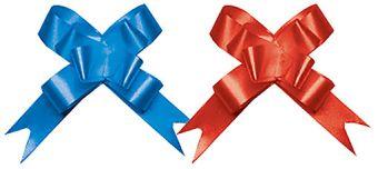BW-18450BR-H2 Бант-бабочка, 2 штуки в PP пакете с подвесом, размер 18 х 450 мм, цвета синий, красный, эффект - металлизированное покрытие  упак. 24/60