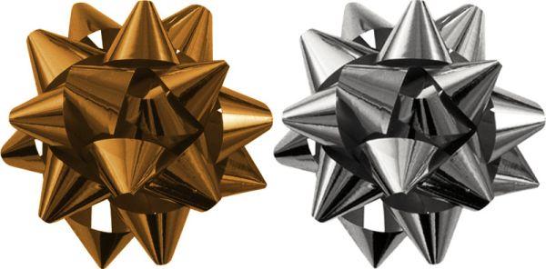 STR15-80GS-H2 Бант-звезда, 2 штуки в PP пакете с подвесом диаметр 80 мм, Цвета: золотой, серебряный, эффект - металлизированное покрытие упак. 48/96