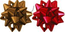 STR15-80GR-H2 Бант-звезда, 2 штуки в PP пакете с подвесом диаметр 80 мм, Цвета: красный, золотой, эффект - металлизированное покрытие упак. 48/96 шт.