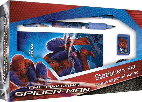 SM4U-12S-360 Набор канц. в подар. коробке с вырубкой: ноутбук 7БЦ, ручка автомат, карандаш ч/г с ластиком, точилка,ластик Spider-man