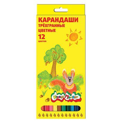 Набор цветн.каранд Каляка-Маляка 12 цв. трехгранные укороч. - фото 1