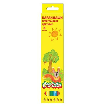 Набор цветн.каранд Каляка-Маляка  ассорти 6 цв. трехгранные с заточкой - фото 1