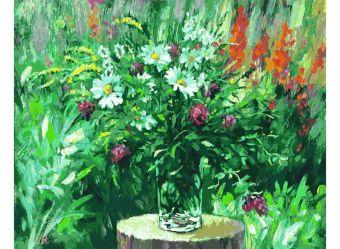 Живопись на цветном холсте 40*50. Лесные ромашки (065-AB-C)