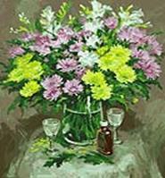 Живопись на цветном холсте 40*50. Осенние хризантемы (067-CG-C)