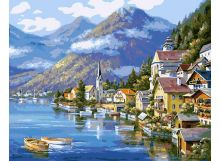 Живопись на цветном холсте 40*50. Хальштадт. Австрия (363-CG-C)
