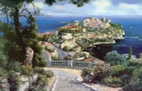 Живопись на цветном холсте 40*50. Княжеский дворец в Монако (627-AB-C)