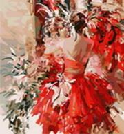 Живопись на цветном холсте 40*50. Девушка в красном (813-AB-C)