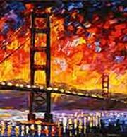 Живопись на цветном холсте 40*50. Мост