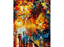 Живопись на цветном холсте 40*50. Огни в ночи (868-AB-C)