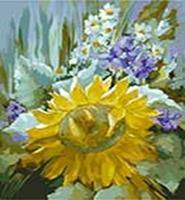 Живопись на цветном холсте 40*50. Подсолнух (890-АВ-C)
