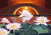 Живопись на цветном холсте 40*50. Лотосы на закате (926-AB-C)