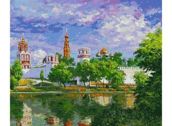 Живопись на цветном холсте 50*60. Новодевичий монастырь (1015-AL-C)
