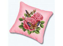 Наборы для вышивания. Подушка Бабочки и розы (канва бежевая) (137)