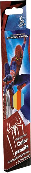 Карандаши, 6 цв. Коробка раздвижная, европодвес Spider-man