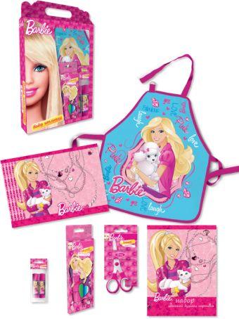 Набор для творчества в картонной коробке.  Состав: фартук, ножницы, клеящий карандаш, карандаши цветные 12 шт., цв.бумага и картон Barbie
